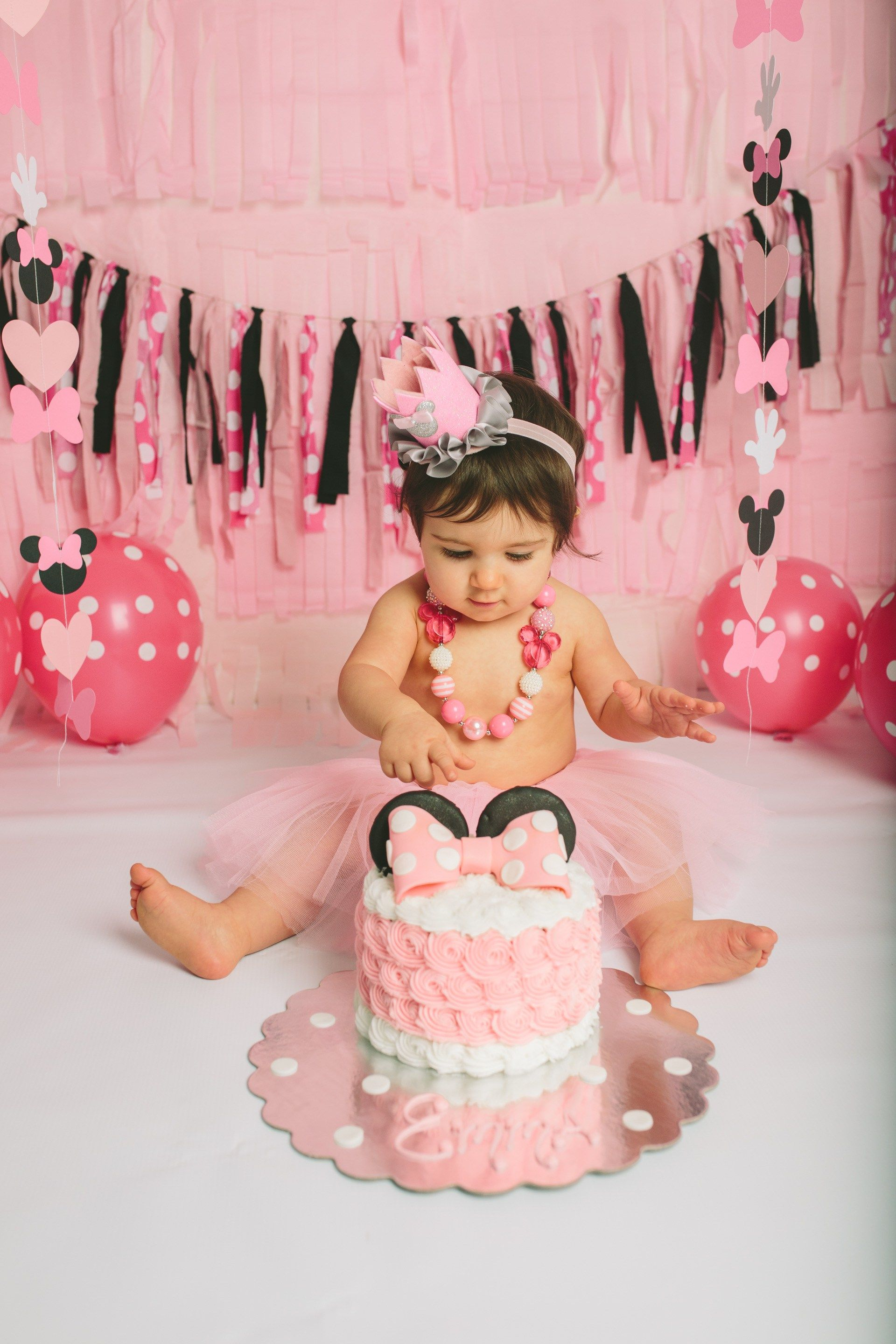 1st Birthday Outfit One Cakesmash Photoshoot Romper Tutu Rose Pink Minnie Mouse
