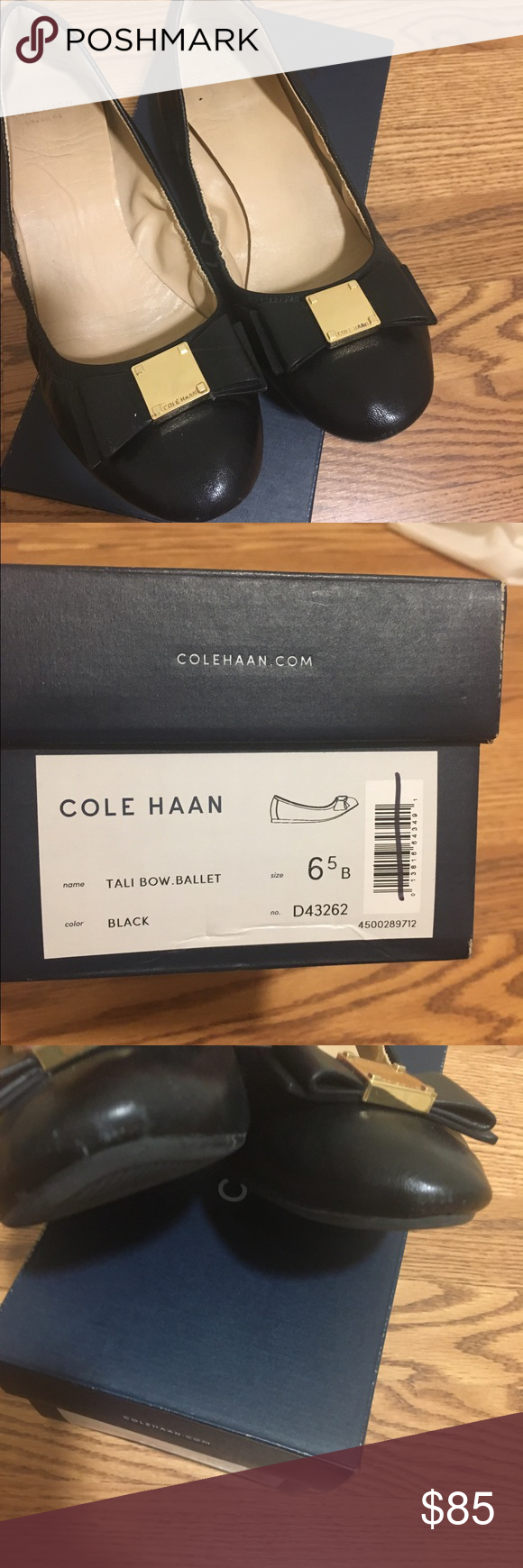 Cole Haan Tali Bow Flat Black, size 6.5 in good condition!   A feminine bow and gold Cole Haan signature hardware adorn its upper of buttery leather, while its base boasts both a half-inch micro wedge and a footbed padded. Pair with slim-fit trousers and a silk blouse for work, or skinny jeans and a soft knit for casual weekend wear. Smooth leather upper. Fully leather lined. Fully padded leather sock lining. Lightweight polyurethane mid-sole and rubber outsole. Cushioned with Grand.OS…