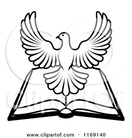 1169140-Clipart-Of-A-Black-And-White-Holy-Spirit-Dove-Over-An-Open ...