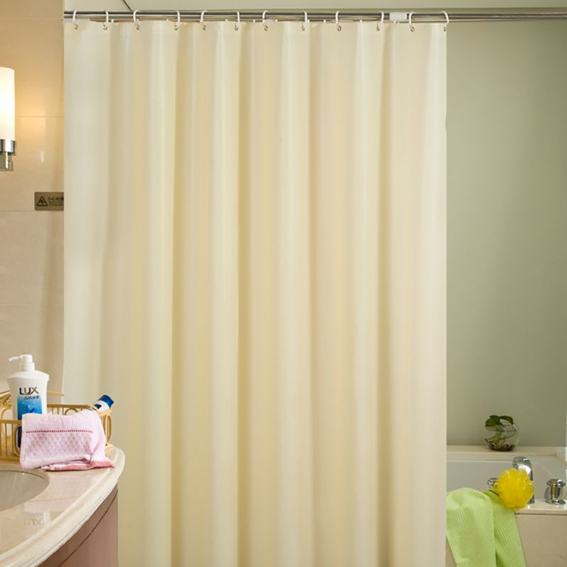 Beige Plastic Shower Curtain Eco Friendly Waterproof Mold Proof Solid Peva Bathroom Curtains With Plastic Shower Curtain Shower Curtain Fabric Shower Curtains
