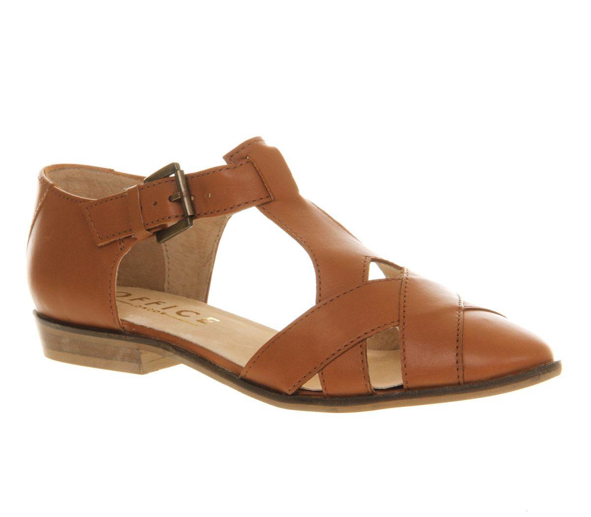 Office Kamper Flat Weave Shoe Tan Leather - Flats