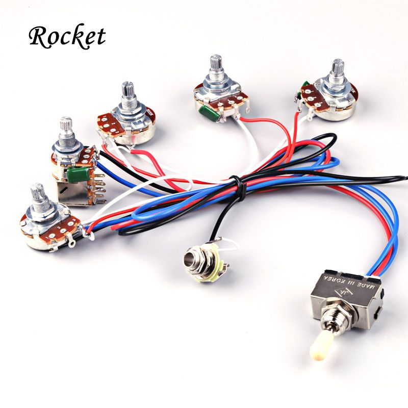 Electric Guitar Wiring Harness Kit 2V2T with Pot Jack 3 Way ... on 3 way sensor switch, 3 way switch trim, 3 way switch wire, 3 way switch installation, 3 way switch terminals, 3 way switch outlet, 3 way switch connections, 3 way light, 3 way fuse, 3 way switch operation, 3 way install, 3 way switch fans, 3 way pull chain, 3 way switch circuits, 3 way switch screws, 3 way relay switch, 3 way parts, 3 way switch schematic, 3 way switch configuration, 3 way switch receptacle,