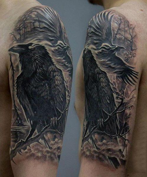 e24a93dc9 100 Raven Tattoo Designs For Men - Scavenge Sooty Bird Ink | Tattoos ...