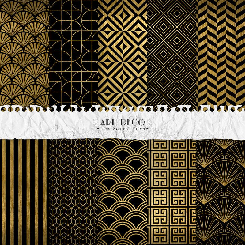 Black And Gold Art Deco Digital Scrapbook Papers 10 Great Gatsby