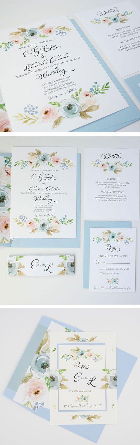 Dusty Blue Wedding Invitations - Pastel Floral Wedding Invitation ...
