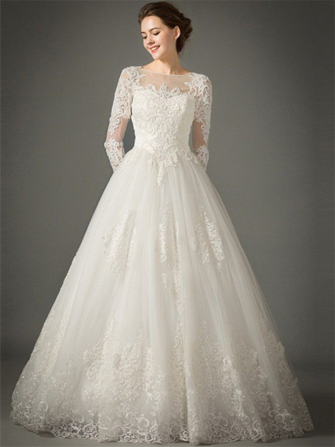 Princess A Line Sheer Neckline Tulle Lace Sleeve Wedding Dress No Train Ball Gowns Wedding Online Wedding Dress Long Sleeve Wedding Dress Lace
