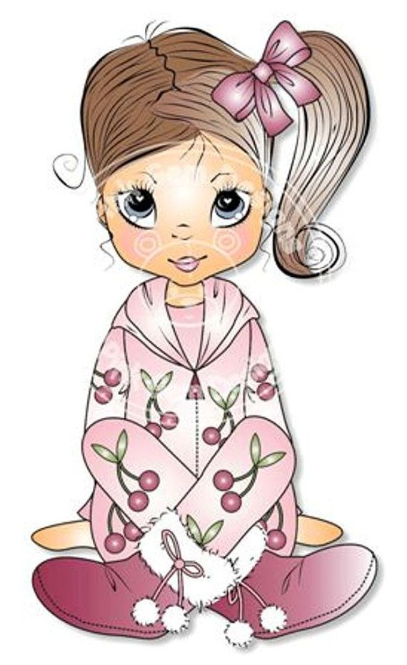 Digital Digi Stamp Poppy  in Onesie. Cute Girl. Girl Birthdays