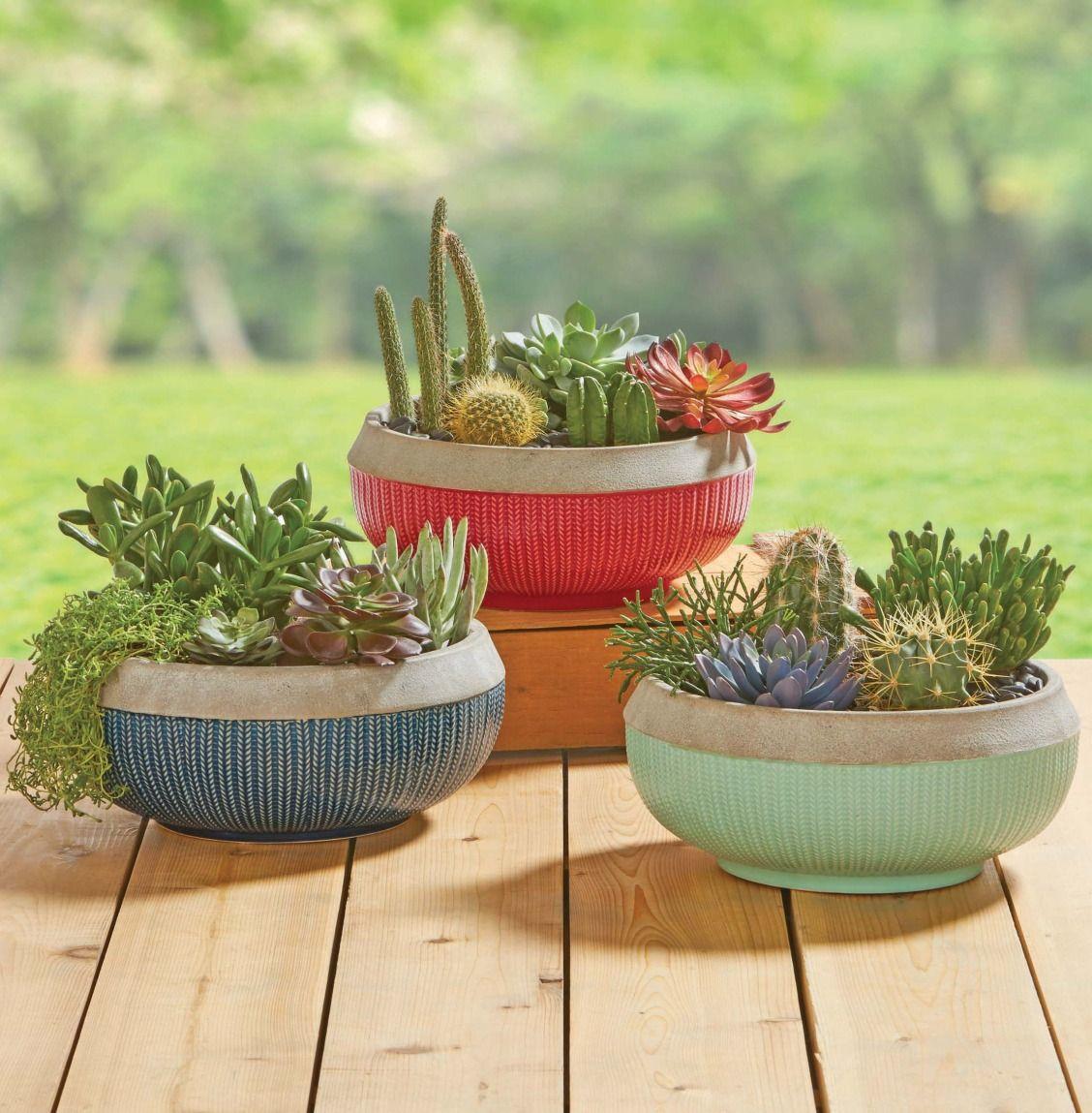 Better Homes Gardens 12 Teal Brookmonte Planter Walmart Com Garden Plant Pots Succulent Garden Indoor Planting Pot