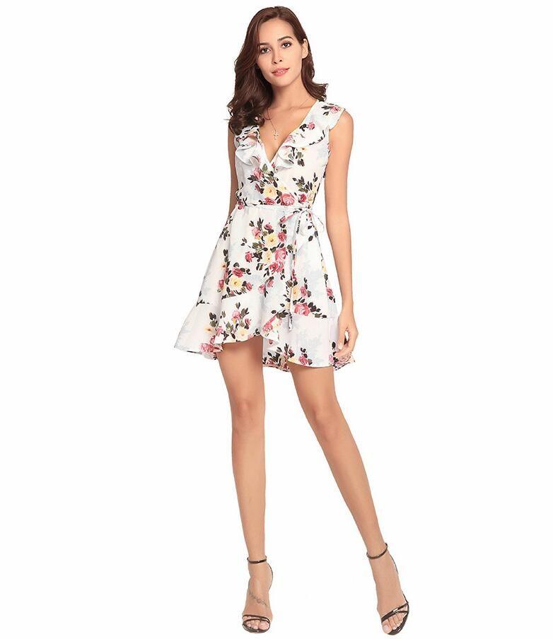 Short Summer Dress, Floral Flowers Prom Dress , Short ...