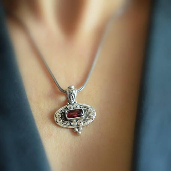 Sterling silver garnet pendant antique style deep red rectangular sterling silver garnet pendant antique style deep red rectangular garnet gemstone christmas gift for her mozeypictures Image collections