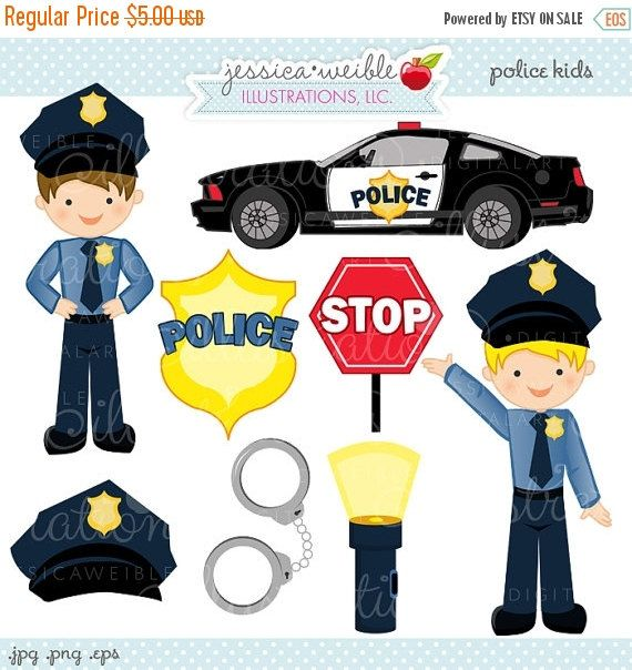 Police Kids Cute Digital Clipart Commercial Use Ok Police