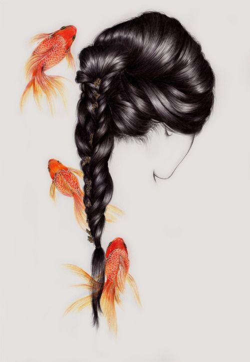 Gold fish hair