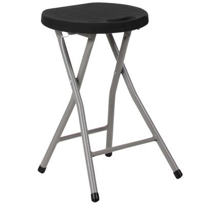Tremendous Foldable Stool With Black Plastic Seat And Titanium Frame Dailytribune Chair Design For Home Dailytribuneorg