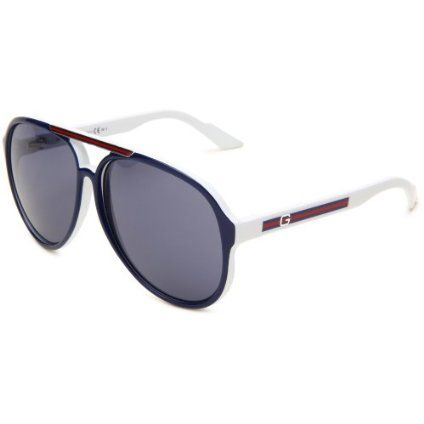 f6d53eec3ab0 Gucci Men`s 1627/S Aviator Sunglasses,Blue White Frame/Blue Avio Lens,One  Size
