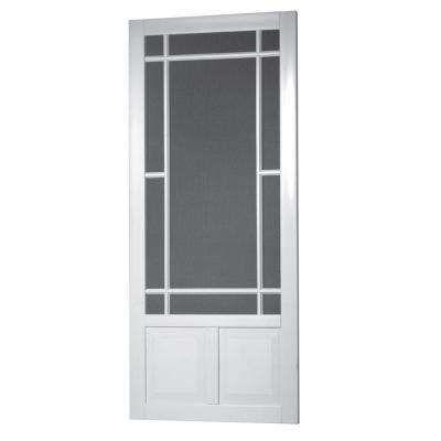 36 In X 80 In Prairie View Solid Vinyl White Screen Door Screen Door Screen Tight Porch And Foyer