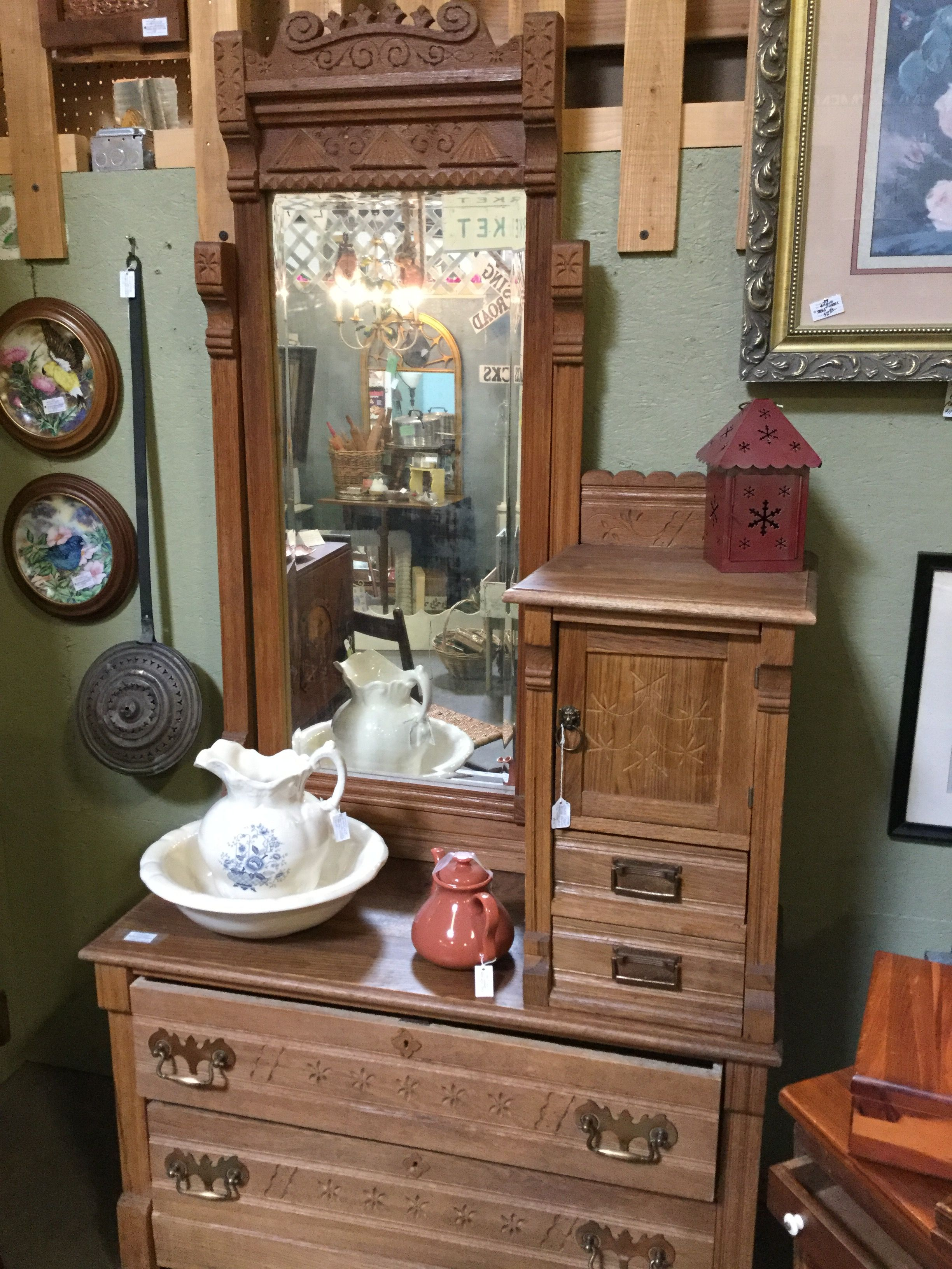 Antique Eastlake Dresser With Mirror, Hat And Glove Storage $275 In Booth 25