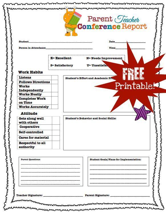 Parent Teacher Conference Printables  Parent Teacher Conference