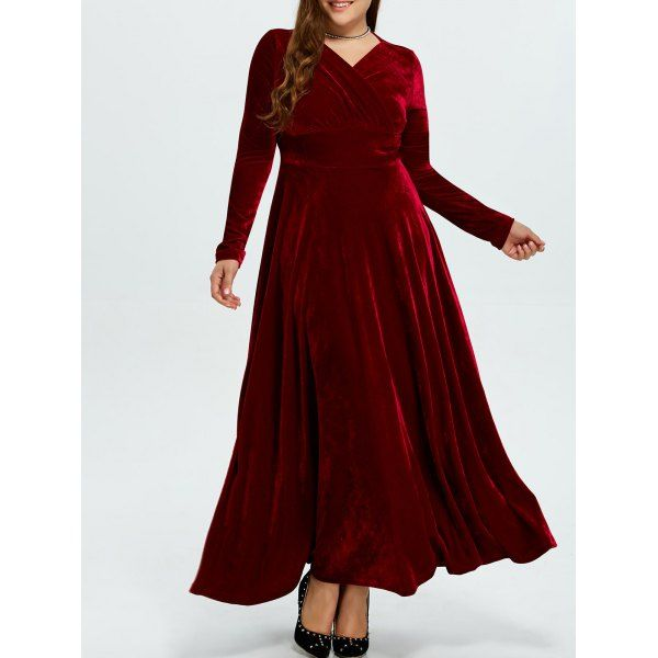 a176baed657 Plus Size Long Sleeve Velvet Maxi Dress (WINE RED