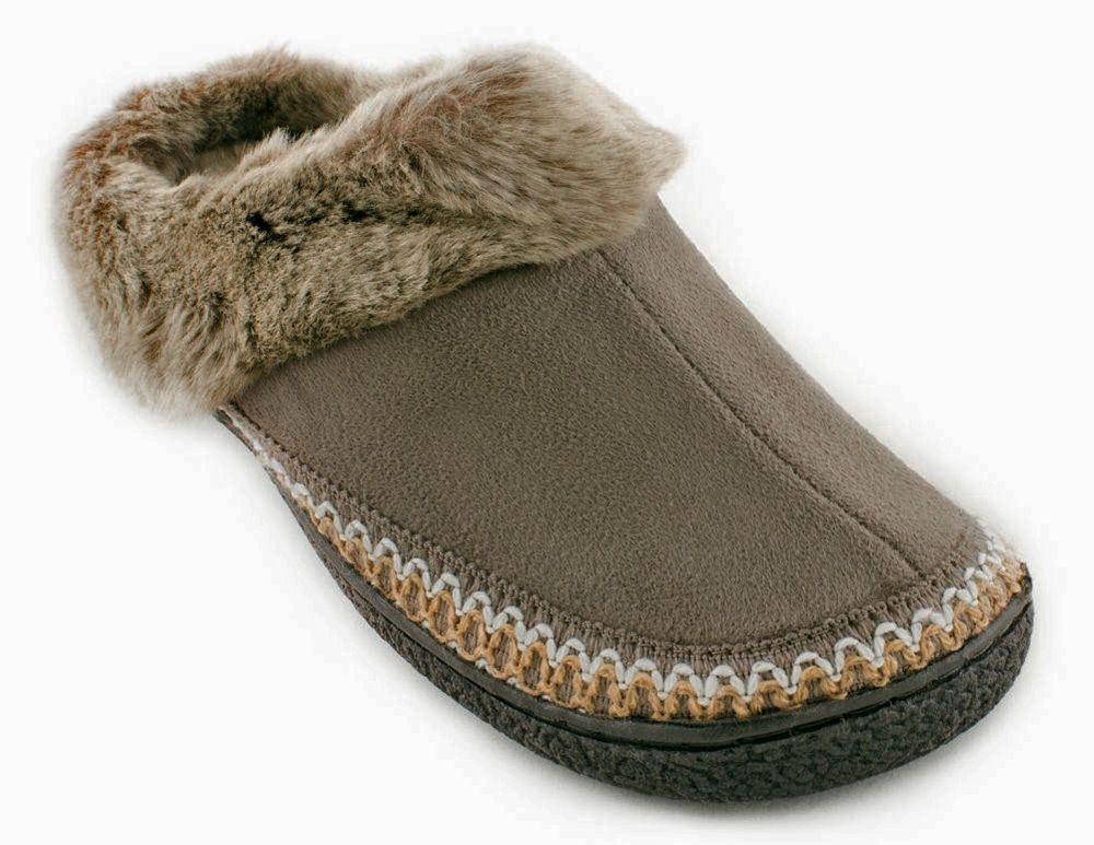 Isotoner Microsuede Faux-Fur Clog Slippers Smokey Taupe US 6.5-7 #ISOTONER #Hoodbackclog