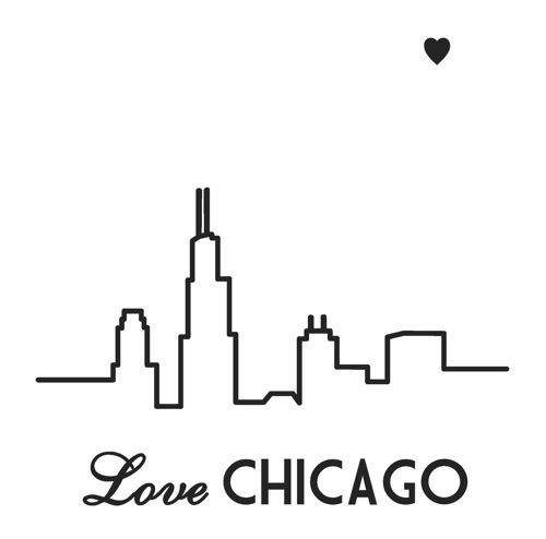 Chicago Love On Canvas Chicago Skyline Tattoo Chicago Tattoo