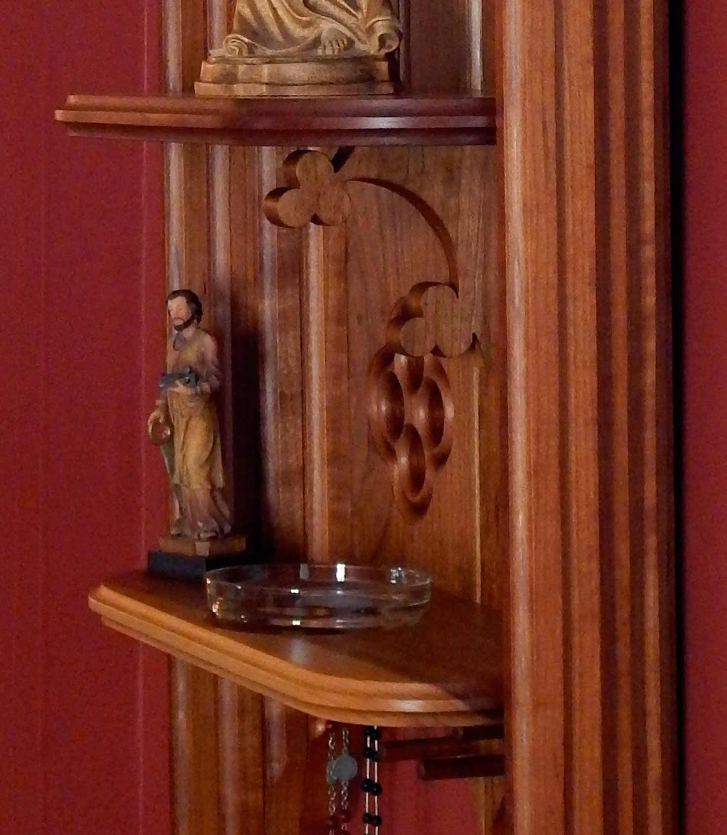 Detail Of Black Cherry Catholic Home Altar Showing The Trefoil Shelf  Support, Holy Water Font