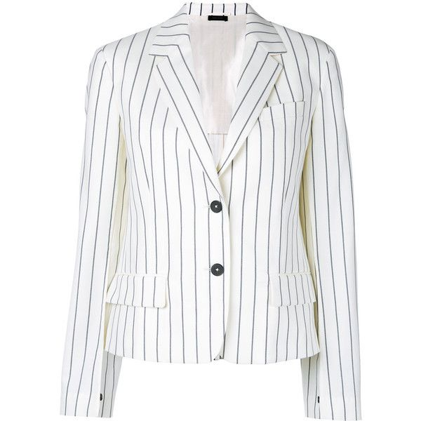 Jil Sander striped blazer (€765) ❤ liked on Polyvore featuring outerwear, jackets, blazers, white, jil sander, blazer jacket, stripe blazer, white blazer jacket and stripe jacket