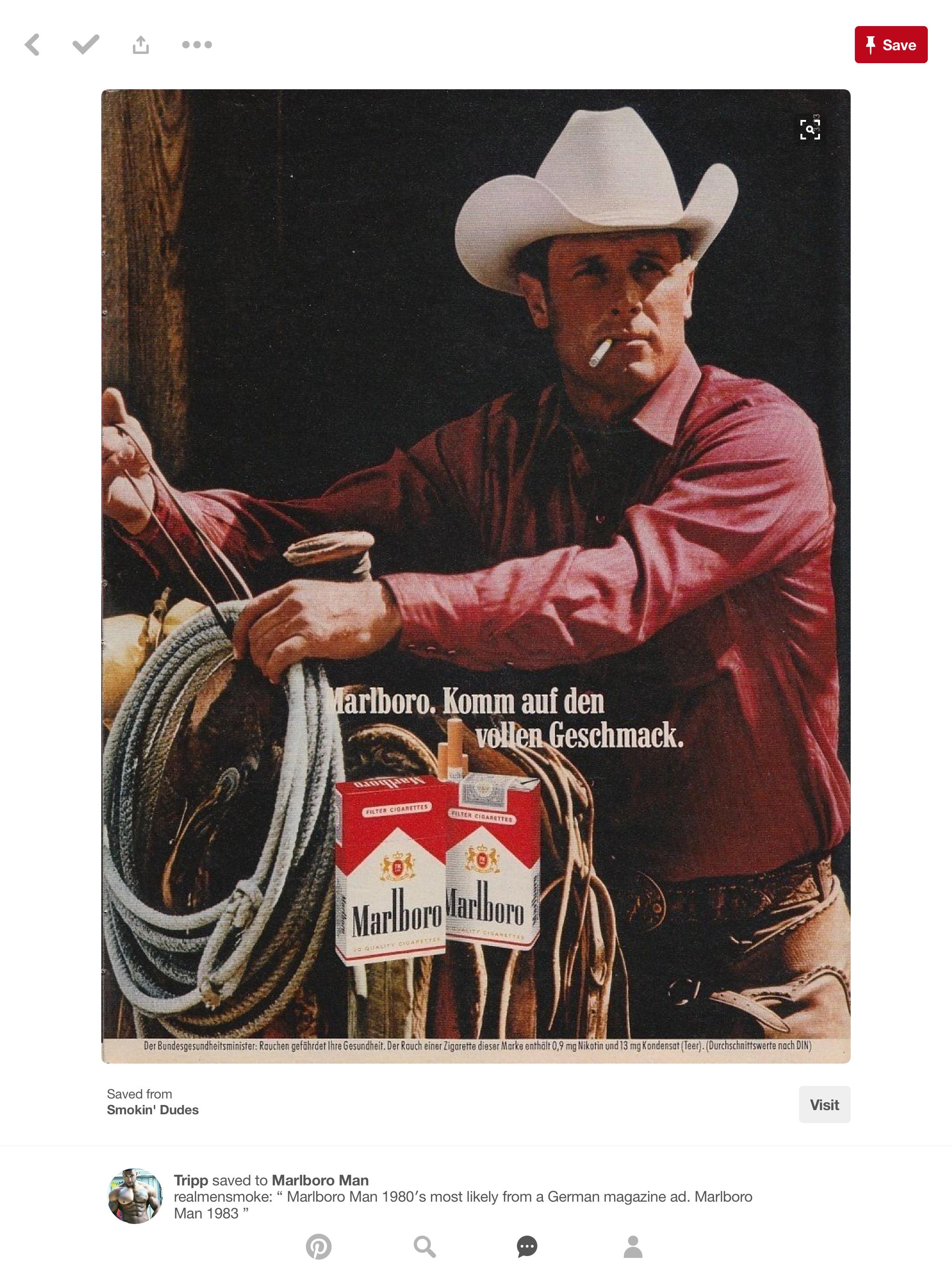5775db4f4 Pin by Rowdy on Cowboys   Marlboro man, Man smoking, Cowboy pictures