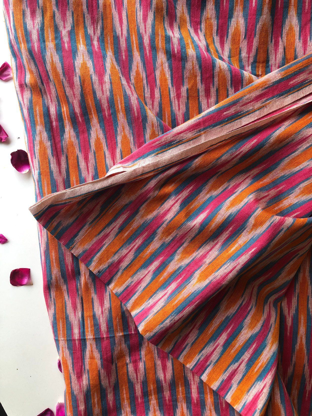 Fabric by the Yard 42/'/' Width Pink Ikat Pure Silk Fabric Indian Silk Fabric Dress Fabric Boho Fabric Indian Fabric