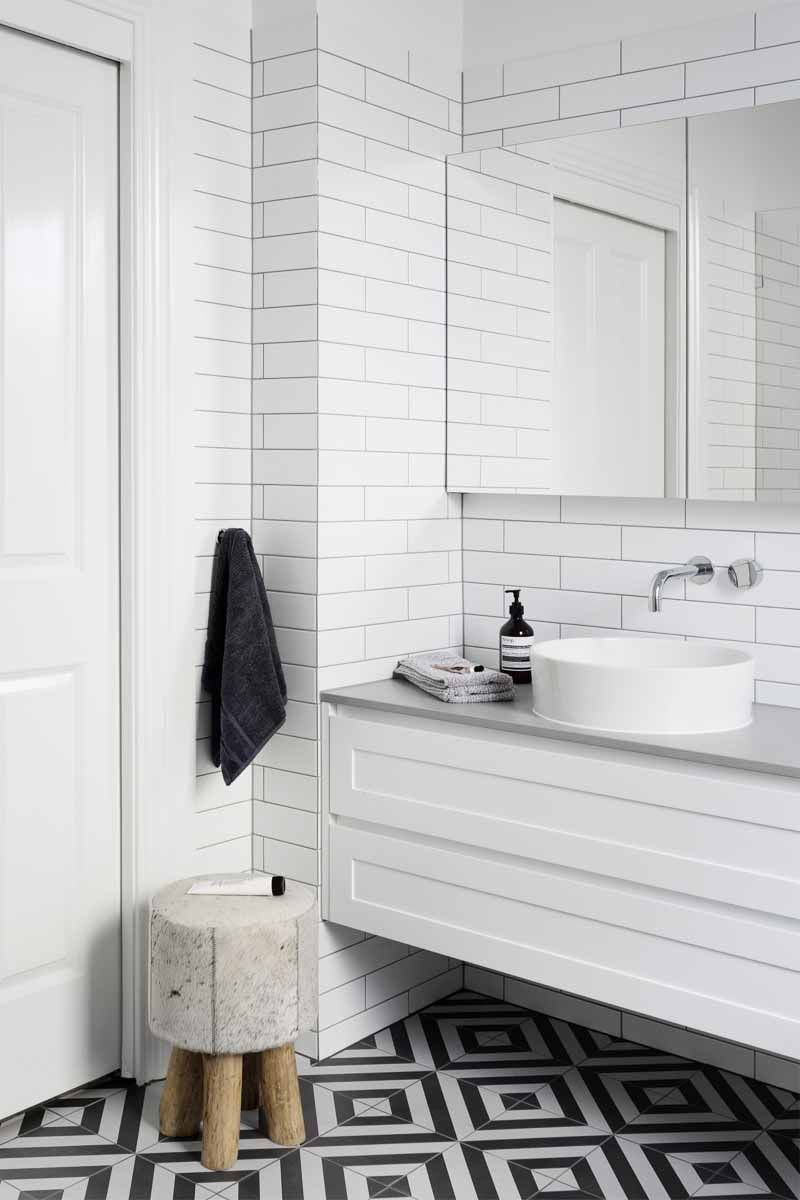 Bold floor tile in this white bathroom design. ELWOOD - Bathroom and ...