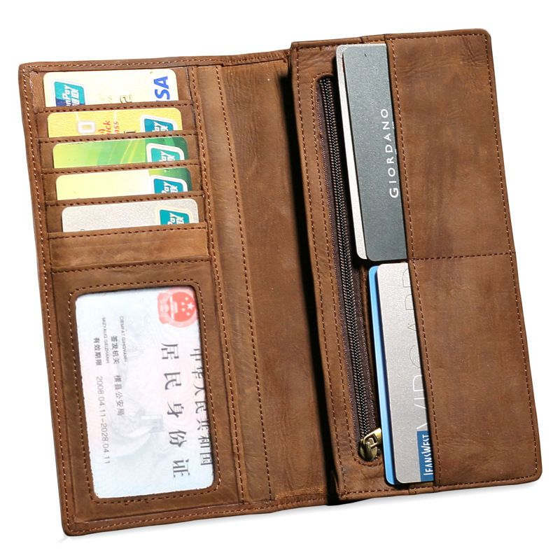 Vintage Men/'s Genuine Leather Long Wallet Bifold Money Card Holder Clutch Purse