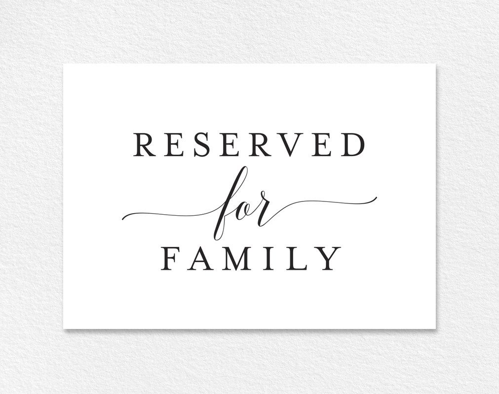 image relating to Free Printable Reserved Seating Signs known as Absolutely free Reserved for Family members Printable Card in opposition to Shade