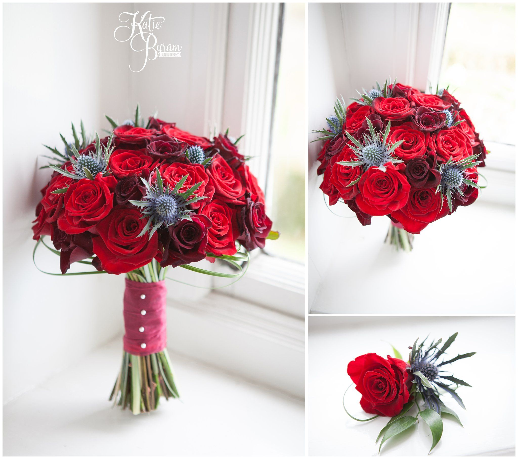 Red roses and thistles wedding flowers bouquet and button hole from ...