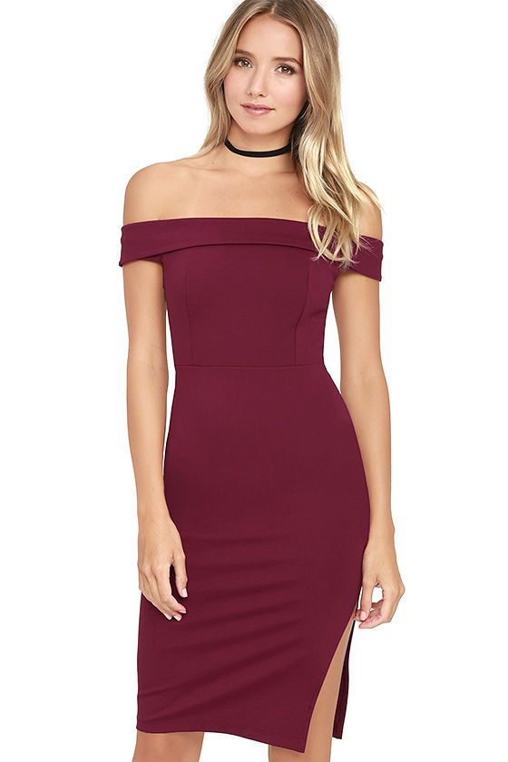 b453280f246c Don t be surprised if you catch somebody s eye in the Foxy Lady Burgundy Off -the-Shoulder Bodycon Dress! Medium-weight stretch knit shapes this sexy ...
