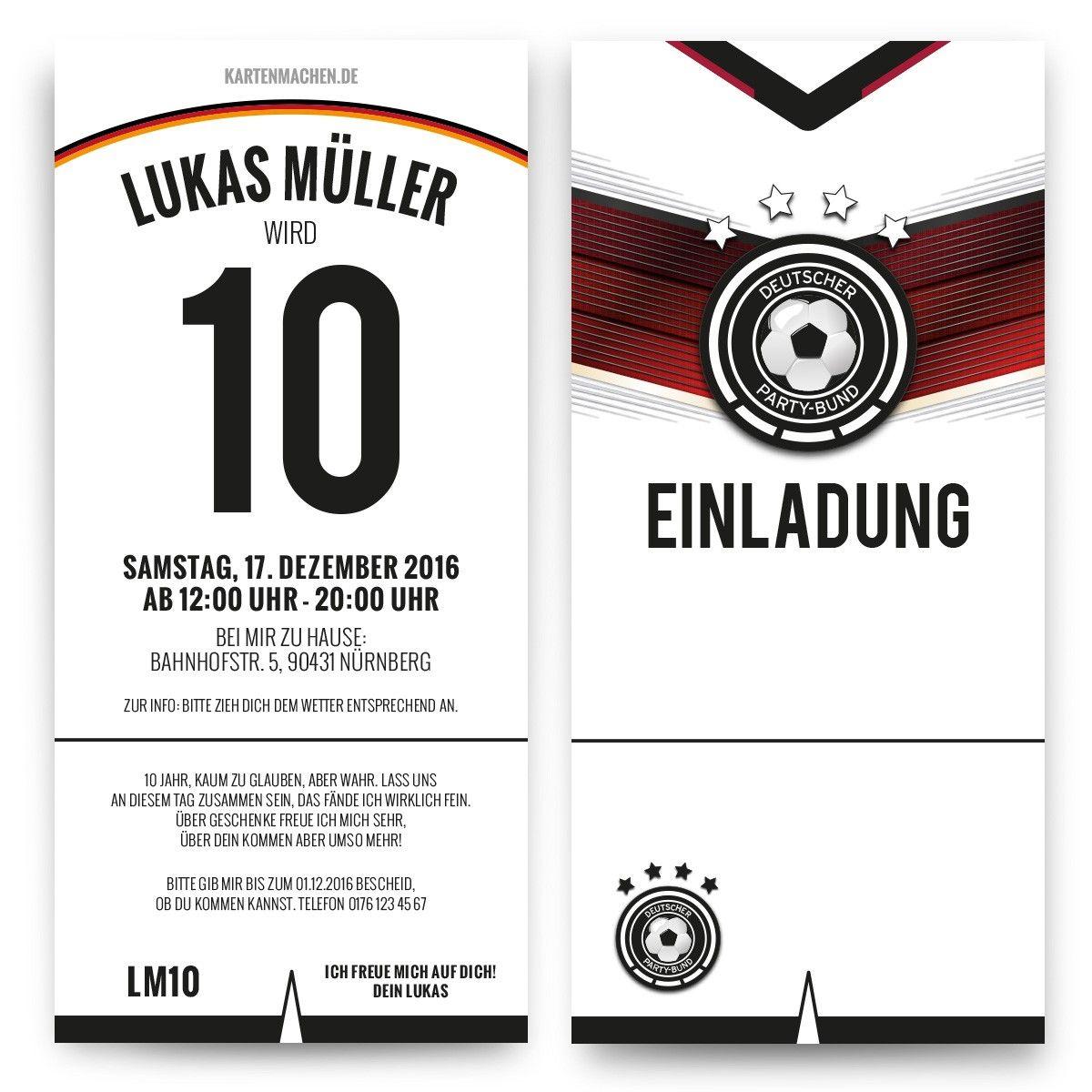 Perfekt Einladungskarten Zum Kindergeburtstag Als Deutschland Trikot (Diy Geschenke  Jungs)