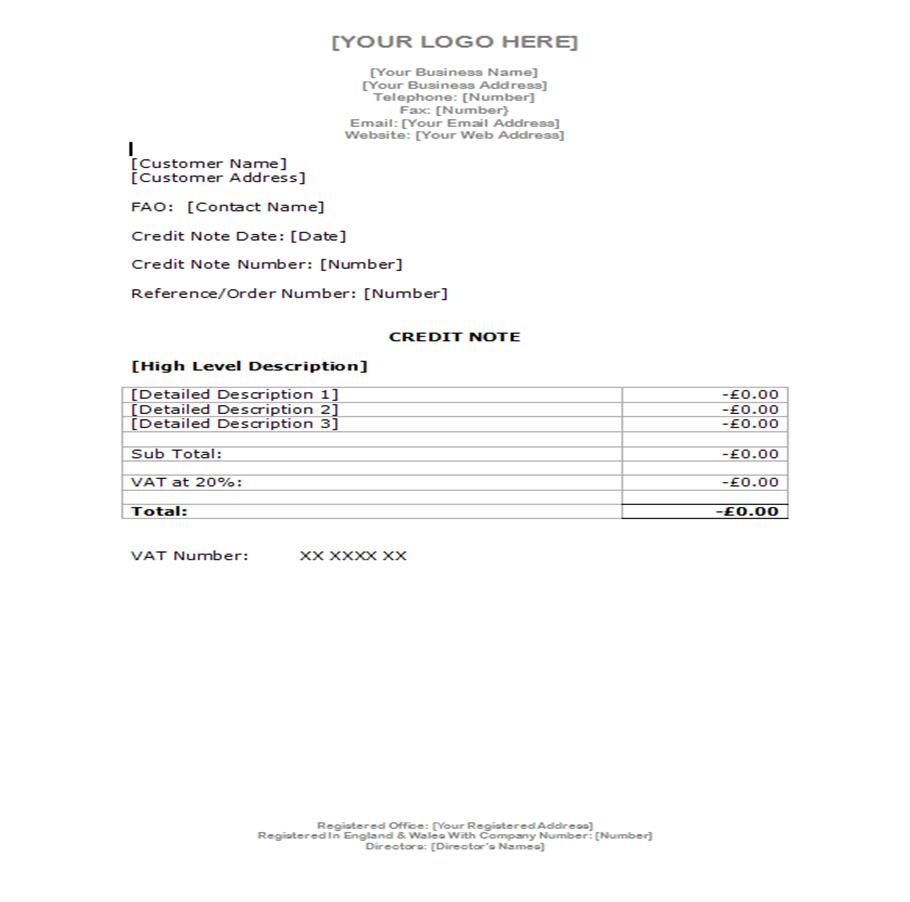 Example Credit Note  Document Templates  Examples
