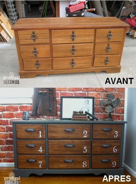 une commode relook e en style industriel avec un peu de peinture et des poign es adapt es d co. Black Bedroom Furniture Sets. Home Design Ideas