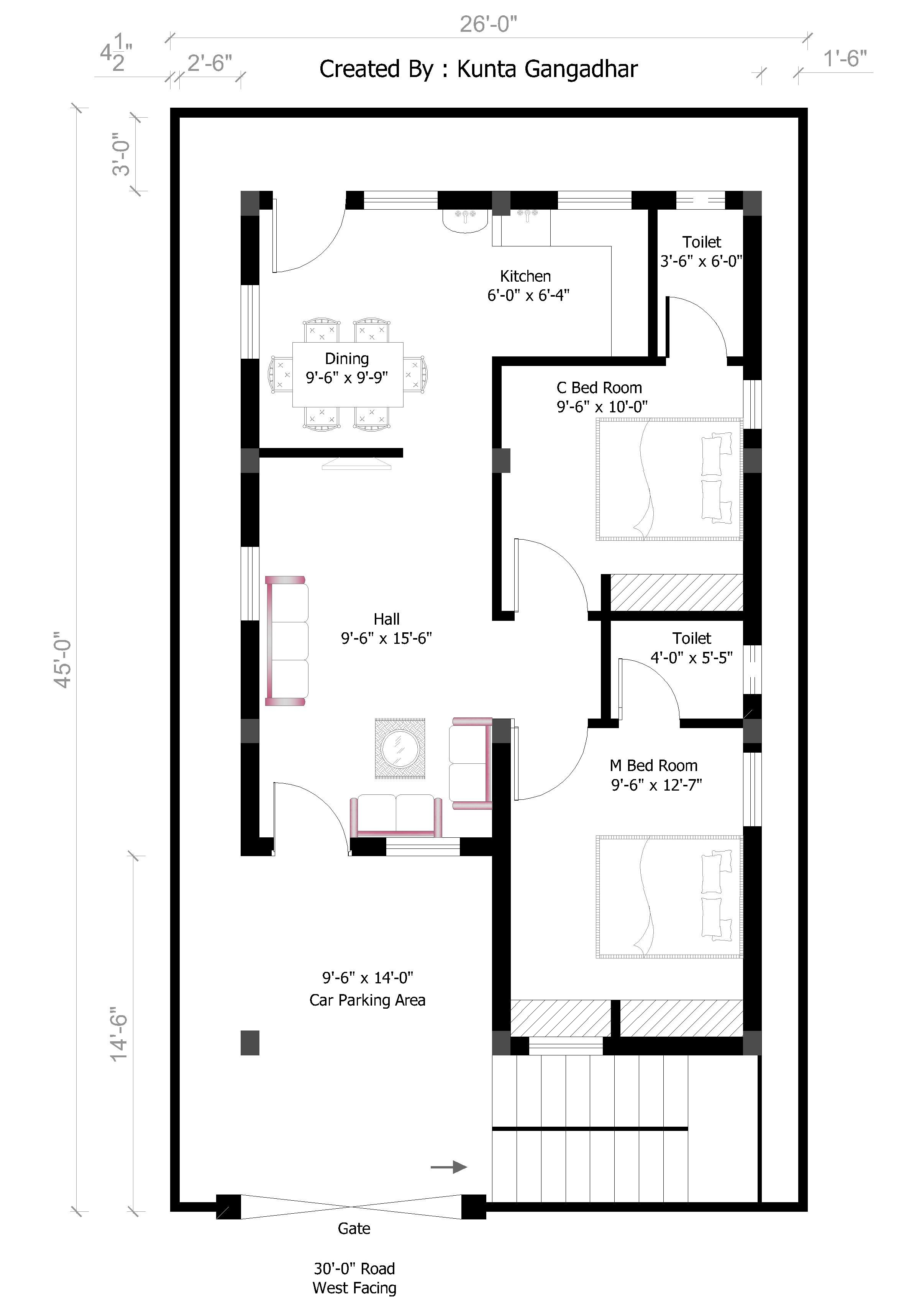 26x45 West House Plan In