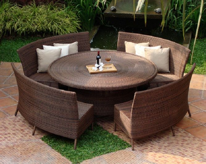 Dining Sets With Benches For Your Outdoor Living : Dining Sets With Benches  Outdoor Living Green Lawn Rattan Round Table Rattan Curves Benches Part 19