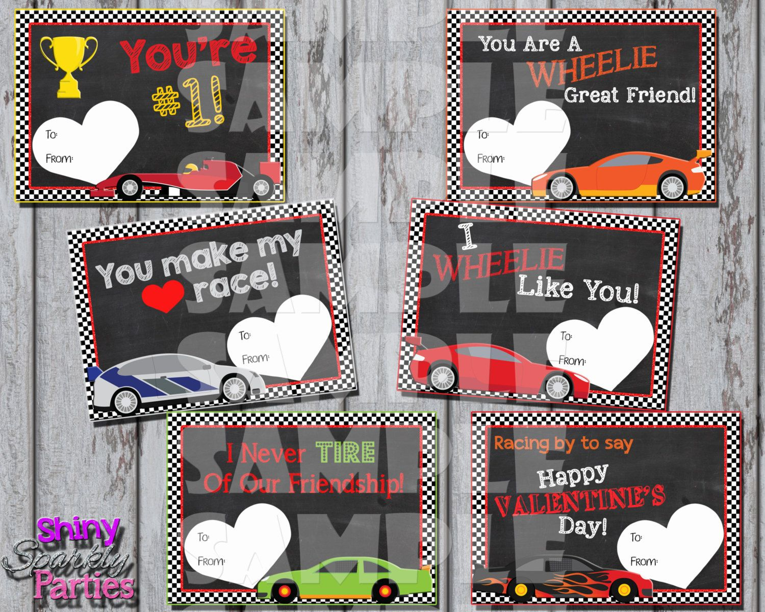 Printable RACE CAR VALENTINES Boys Valentines Day Cards – Boy Valentines Day Cards