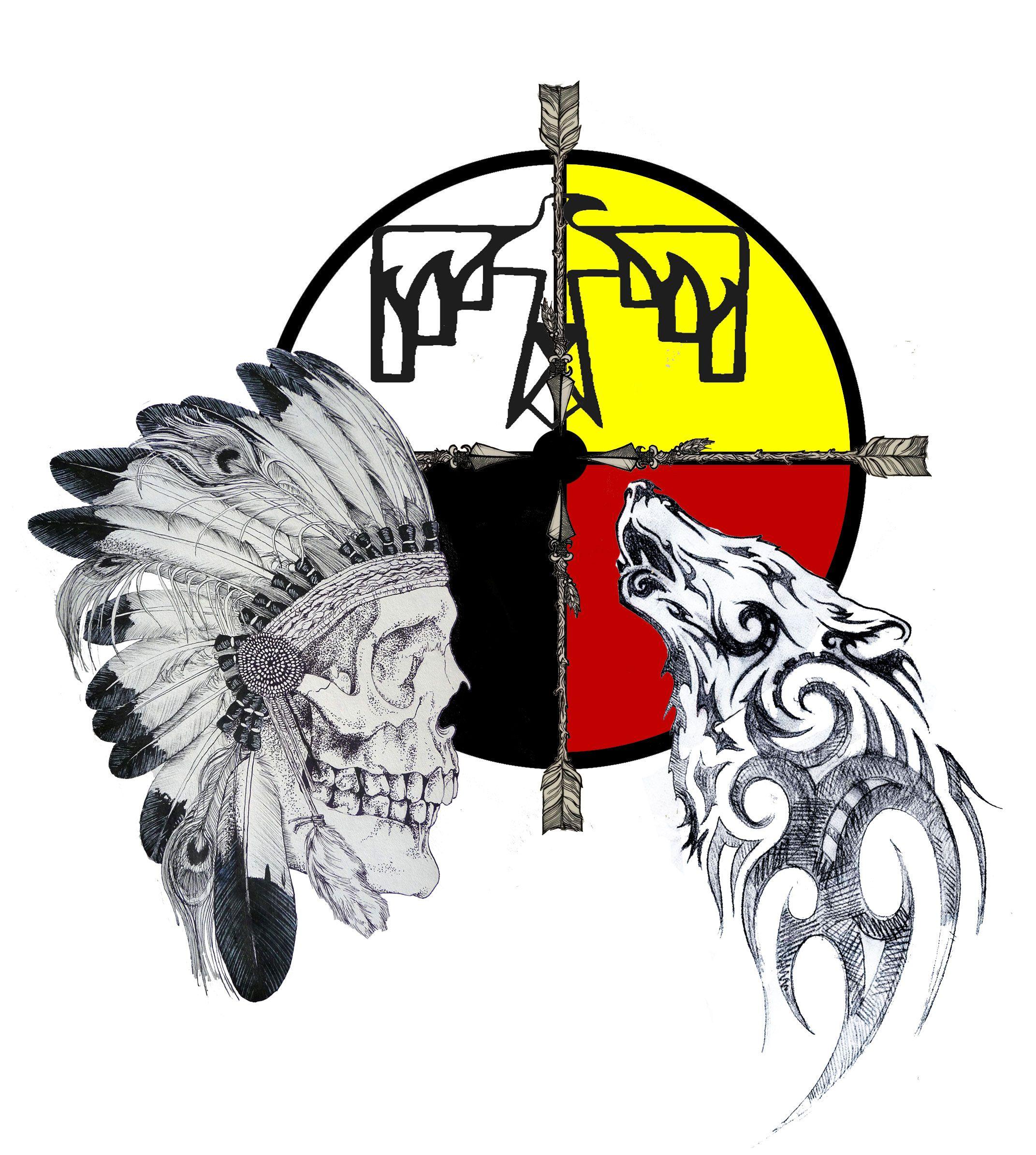 328c5af613fbc Lakota spirit wheel, tribal wolf, and thunderbird. | Tattoos | Cherokee indian  tattoos, Tribal wolf, Tribal tattoos
