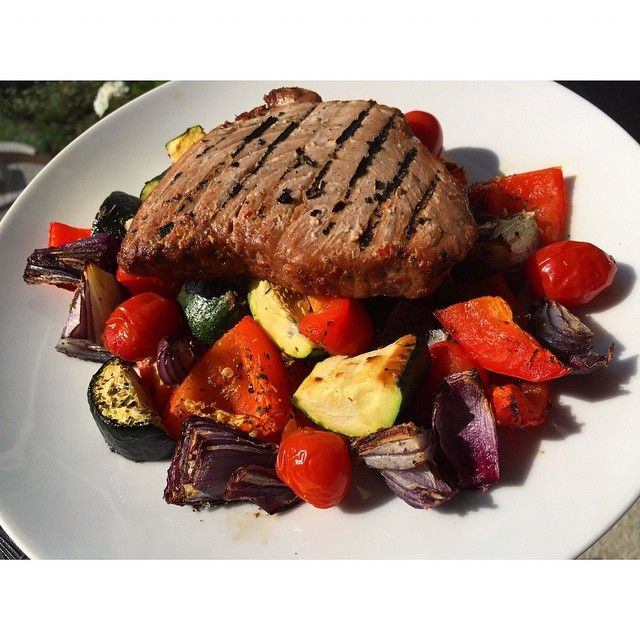 Courtney Pruce On Instagram Dinner Tonight Is A Grilled Spicy Tuna Steak On A Bed Roasted Mediterranean Vegetables Healthy Snacks Recipes Good Steak Recipes