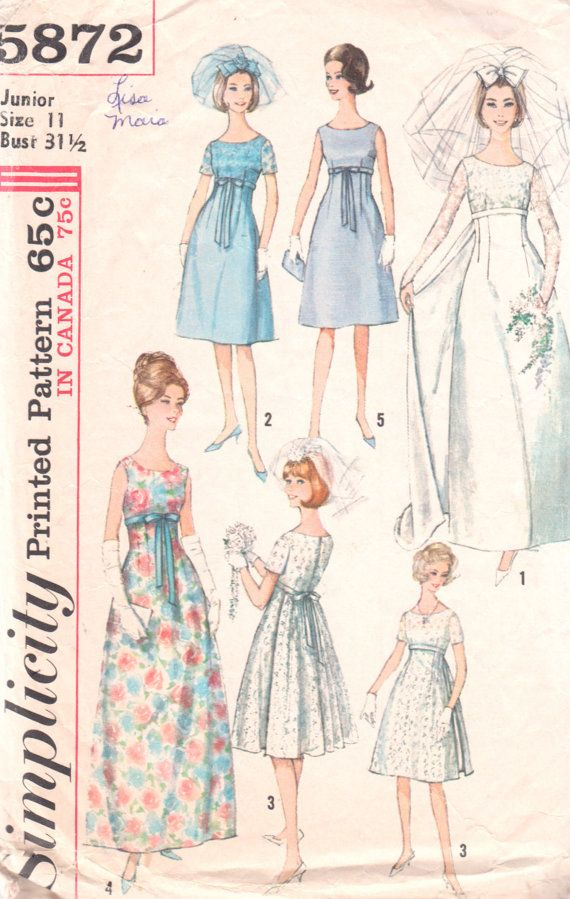 Simplicity 5872 1960s Empire Waist Wedding Dress Pattern Junior Womens Vintage Sewing Pattern Size 11 Bust 31 With Images Empire Waist Wedding Dress Patterned Bridesmaid Dresses Wedding Dress Patterns,Wedding Dress For Mother And Daughter