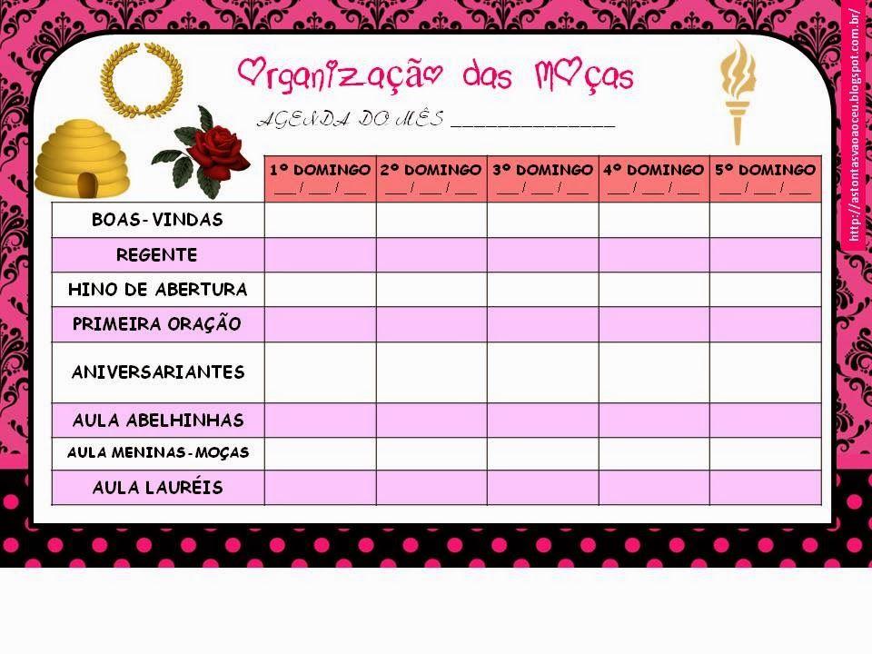 As Tontas Vão Ao Céu: Organização das Moças: Planilha de Planejamento Mensal das Reuniões Dominicais