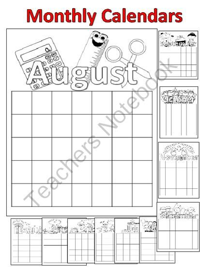 Back to School Monthly Calendars from FunTeach on