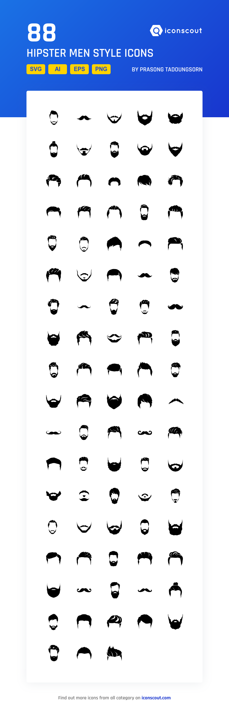 Hipster Men Style  Icon Pack - 88 Solid Icons