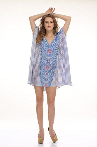 ea55fc395a10a D G PRINTS FAB Womens Georgette Printed Turkish Kaftans Beachwear Bikini  Cover up Dress Free Size Multi Color Digital Print     Want to know more