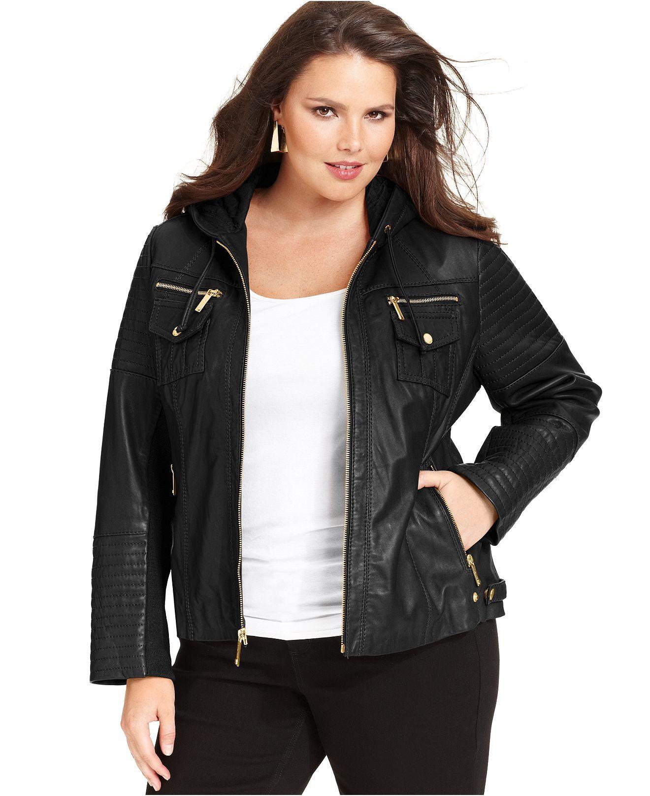 MICHAEL Michael Kors Plus Size Coat, Leather Hooded Jacket