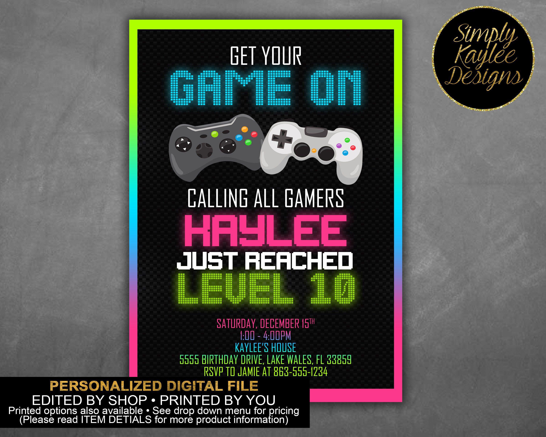 video game birthday invitation gamer