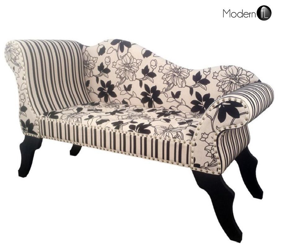 New Cream And Black Floral Chaise Longue, Cream Black Reception Chaise  Longue