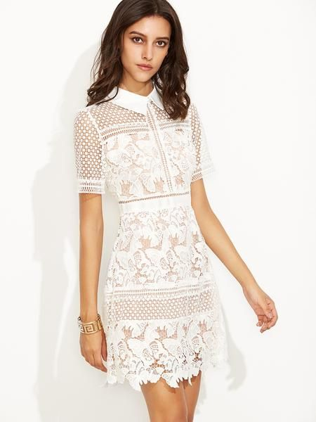 ☆ Romantic White Lace Crochet Chic Overlay Shirt Dress ...